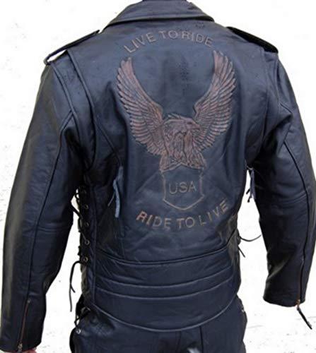 Lederjacke Leder Jacke für Biker Chopper Mottoradjacke Motorrad Rocker Punk