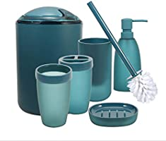 iMucci Blue 6pcs Bathroom Accessories Set - with Trash Can Toothbrush Holder Soap Dispenser Soap and Lotion Set Tumbler Cup
