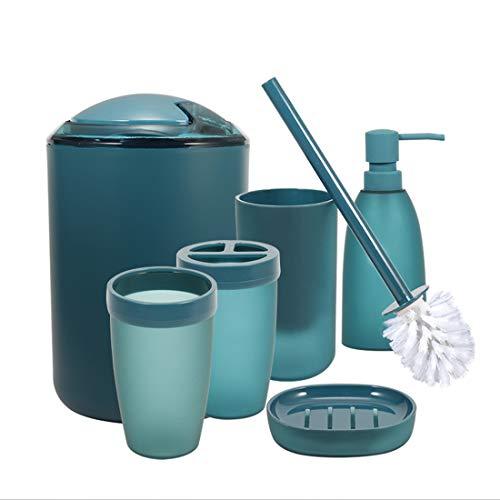 iMucci® Juego de Accesorios de baño con Soporte para Cepillo para Polvo de Dientes, dispensador de jabón y loción para Vaso, 6pcs a Set of Blue