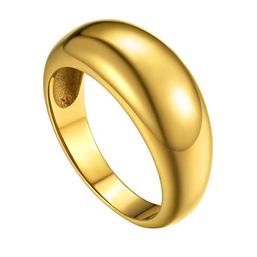 GoldChic Jewelry Gold Rings For Women Men, Size T½ Punk Chunky Rings For RockStar, US Sizes 10