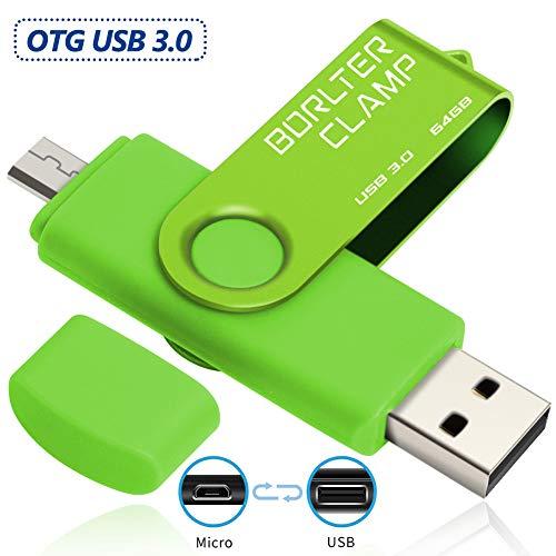 BorlterClamp 64GB OTG USB-Stick Speicherstick Dual USB 3.0 Flash-Laufwerk mit Micro USB-Laufwerk Anschluss für Android Smartphone Tablets & Computer (Grün)