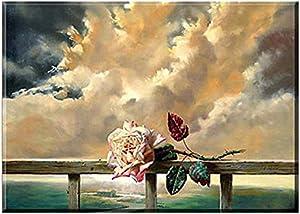 تابلوه مودرن قماش - 70 سم x 50 سم زهرة جميلة - متعدد الالوان