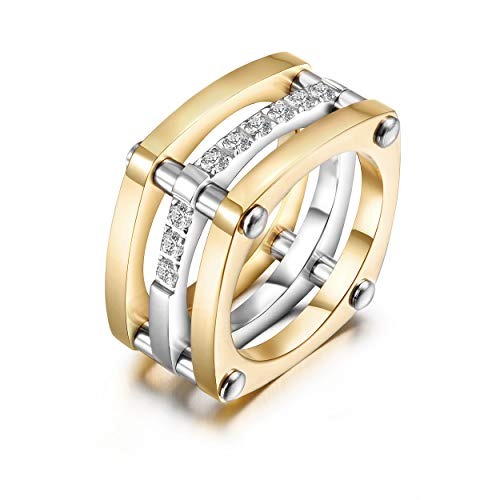 WISTIC Ring Rosegold/Gold Damen Kreuz Edelstahl Zirkonia Bandring Schmuck Geschenk für Frauen Mutter Freundin (Gold-Platz, 54 (17.2))