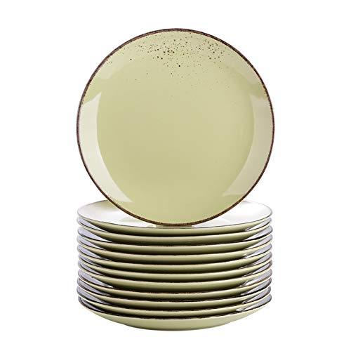 JSJJAUA Plato de Cena 4/8 / 12 Piezas de gres de cerámica de cerámica 10.75'Conjunto de Placa de Cena Vintage Mira Ensalada/Fruta/Snack Set de Placas de vajilla (Color : 12 Piece)