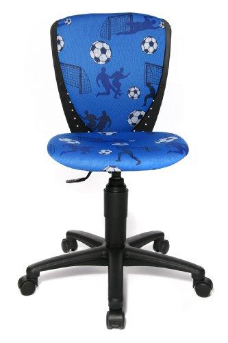 Topstar S'cool 3, Kinderdrehstuhl, Schreibtischstuhl für Kinder, Bezugsstoff blau, Motiv Fußball
