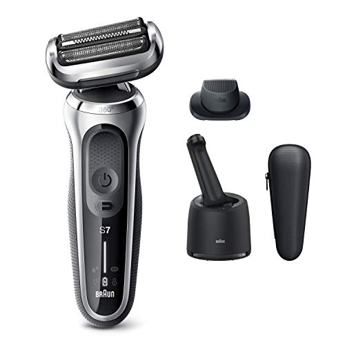 Braun Electric Razor for Men, Series 7 7071cc 360 Flex Head Electric Shaver with Precision Trimmer, Rechargeable, Wet & Dry, 4in1 SmartCare Center and Travel Case, Silver