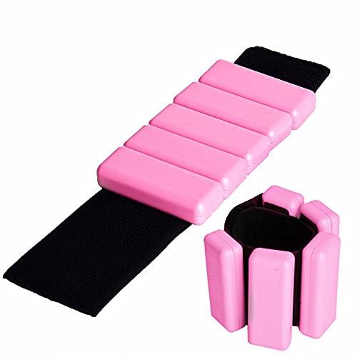Grebest 1 par de muñeca ajustable de silicona para el brazo de la mano de la pulsera de la pierna del tobillo para el entrenamiento de baile, correr, con peso ajustable, leggings rosa 1 par