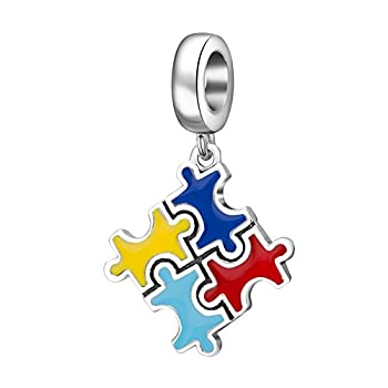 ARTCHARM Colorful Autism Puzzle Charm - 925 Sterling Silver Bead - Fits European Charm Beads
