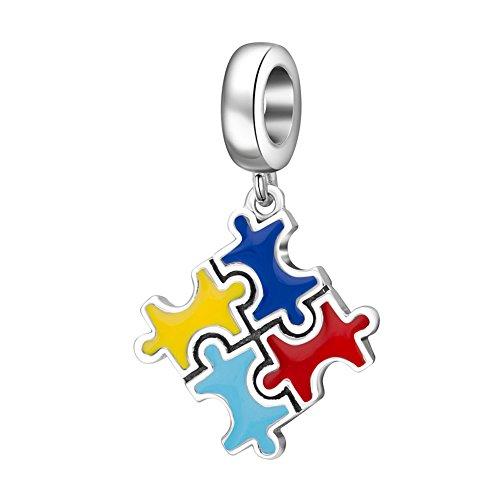 Kleurrijke Autisme Puzzel Bedel Hanger met Emaille 925 Sterling Zilver Dangle Kralen Europese Kralen voor Europese Stijl Slang Ketting Armbanden