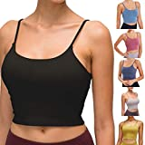 Image: Longline Sports Bras for Women Sleeveless Camisole Crop Yoga Tank Top Seamless Fitness Workout Shirts Padded Sports Bra | by xatos