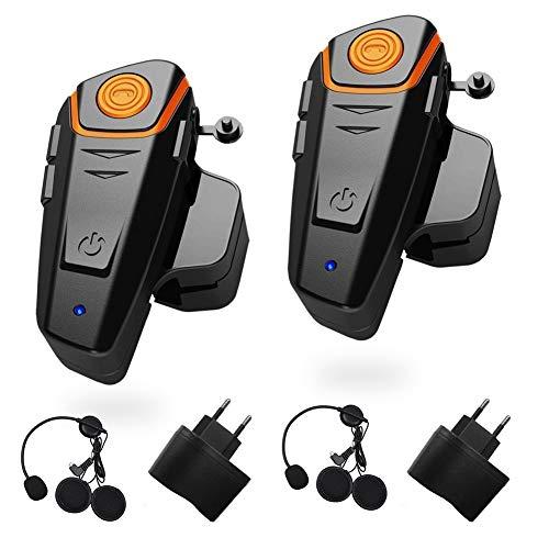 1000m Bluetooth Motorrad Intercom der Headset Wasserdicht Helm des Interphone für 2 oder 3 Piloten und Audio für Das Walkie Talkie GPS Spieler MP3,FM Radio und Freisprechfunktion (2 Packung)