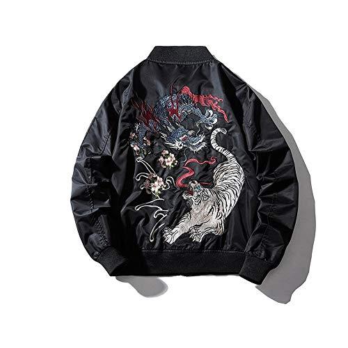 Stickerei Herren Bomberjacke Dragon Tiger Herbst Winter Pilot Jacke Herren Hip Hop Japanische Baseball Jugend Jacke Streetwear,XXL