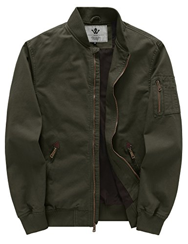 WenVen Men's Cotton Casual Military Bomber Jacket (Green, XXX-Large)