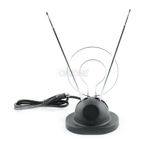 Topzone 3 FT Universal Rabbit Ear UHF/VHF Color Antenna with Push-on Connectors.