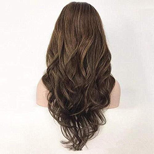 Robe Perruque Avant Dentelle Réaliste Mode Perruques Fluffy Lady Mi-Longueur Brun Longue Bouclée Vague de Cheveux Humains Synthétique