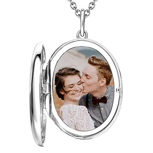 Soufeel Personalisierte Damen Kette Medaillon Foto Oval Anhänger Geburtstag Geschenk für Mutter Freundin