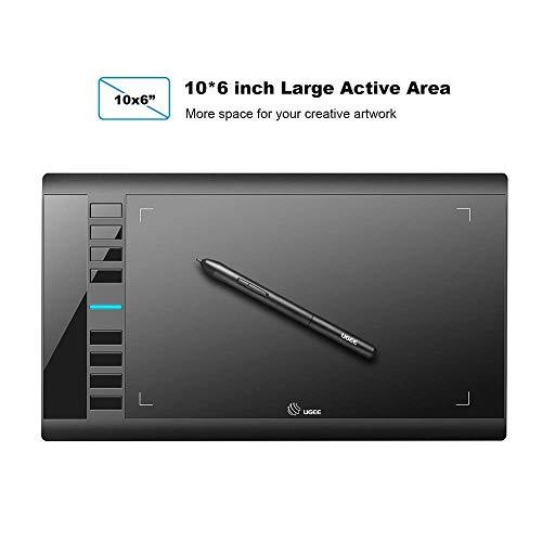 Ugee M708 Tabletas Gráficas Tableta de Dibujo Gráfico Digital de 10 x 6 Pulgadas 8 Teclas de Acceso Rápido 8192 Lápiz Optico Sin Batería de Presión Para Windows 10/8/7 Mac OS Artist Case Hobbyists
