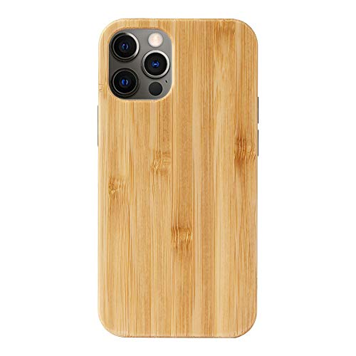 """Real Natural Wooden Cover Compatible with iPhone 12 Mini Wood Cases, [5.4""""] Shockproof Business Classy Protector(TPU Bamboo)"""