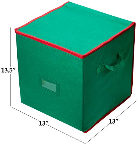 green ornament storage box filled with ball ornaments in front of Christmas tree