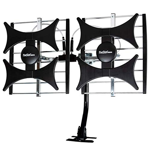 [Newest 2021] Five Star Multi-Directional 4V HDTV Amplified Antenna - up to 200 Mile Range, UHF/VHF, Indoor, Attic, Outdoor, 4K Ready 1080P FM Radio w/ 40ft RG6 coaxial Cable, Mounting Pole