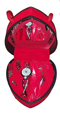 Geschenkset für Frauen - Herz Valentinstag - Geschenkset Uhr, Kette, Ring, Ohrringe