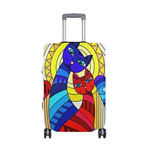 ALINLO - Funda Protectora de Viaje para Maleta con diseño de Gato de Dibujos Animados, Estilo de Cristal, para 18-32 Pulgadas, Multicolor (Multicolor) - wllkn366502bz