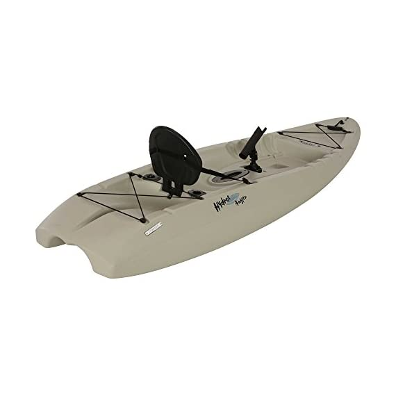 """Lifetime hydros angler kayak with paddle, sandstone, 101"""" 2 lightweight design. Multiple footrest positions for different size riders. Molded-in swim-up deck combination tunnel hull design provides great stability and tracking. Center carry handle for easy transport to waterfront front and rear shock cord straps. Front t-handle for easy transport"""