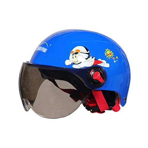 YUNFEILIU Kinder Motorradhelm, Cartoon Skateboard Helm mit Offenem Gesicht, E-Bike Roller Helm Für Kinder Jungen Mädchen Moto, Skateboard Helm,Blau