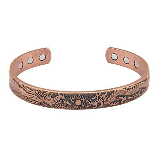 EXCEART Magnetisches Armband, offener Armreif, Vintage, rote Bronze, Drache, Phoenix, Armreif für Damen und Herren (dunkelrot)