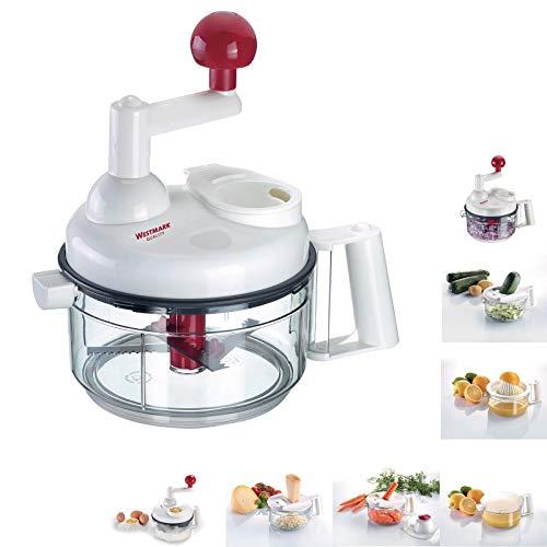 Westmark Handmatige keukenmachine, 9-in-1, schaaf/rasp/julienne-snijder/citruspers/snijder/schuimslag/idotterscheider, kunststof/roestvrij staal wit/rood