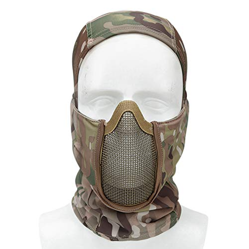 WoSporT Tactical Balaclava Mesh Mask Airsoft Paintball Full Face Protection Ninja Style Steel Metal Mesh Mask Foldable Design for Hunting,CS Game