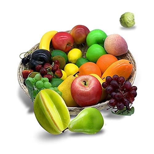 GZLCEU Juego de 12 frutas artificiales de espuma, realistas para decoración del hogar, fiestas, festivales, sesiones de fotos (mezcla de colores)