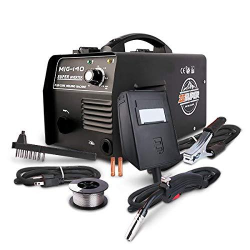 ZESUPER 140 MIG Welder IGBT 110VDC Inverter Welding Machine Flux Core Wire Gasless Automatic Feed Welder, Free Mask