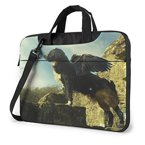 Maletín Funda para Ordenador Portátil Cachorro de Perro con alas de ángel Portadocumentos Maletines y Bolso Bandolera para Portátil 15.6 Pulgadas