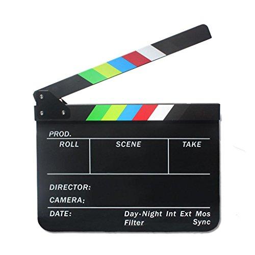Acrílico Claqueta de Series de TV Cine Tablilla Tabla de Pizarra Plástica Acrílica 300 * 245 * 3 mm - Claqueta Negra con Raya Colorida
