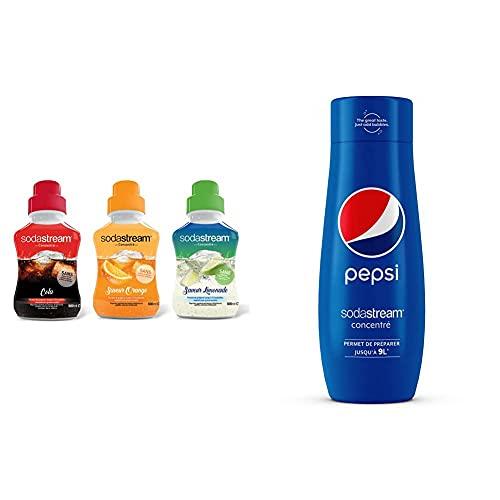 Sodastream Lot de 3 Concentrés Saveur Cola/Orange/Limonade 500ml & Concentré Pepsi 440ml