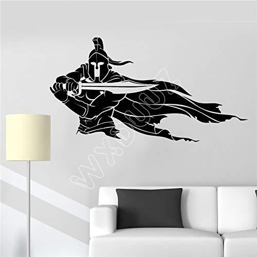ShiyueNB Vinyl Wall Decor Spartan Warrior helm zwaard kruigers mantel sticker keuken woonkamer vinyl muur sticker 85 x 44 cm