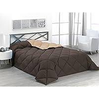Sabanalia - Edredón nórdico de 400 g reversible (bicolor), para cama de 180/200 cm, color arena y chocolate