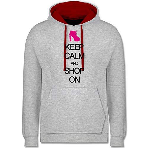 Keep Calm - Keep Calm and Shop on - XL - Grau meliert/Rot - Meme - JH003 - Hoodie zweifarbig und Kapuzenpullover für Herren und Damen
