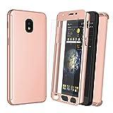 Njjex Case for Samsung Galaxy J7 Refine/J7 2018/J7 Star/J7 V 2nd/J7 Aura/J7 Top/J7 Crown/J7 Aero W/[Tempered Glass Screen Protector], [N360] Full Body Hard Slim Phone Cover [Rose Gold]