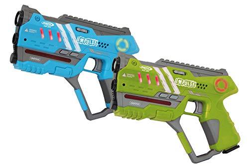 Jamara 410086 Impulse Gun - Pistola Set Laser Tag con 3 Battlemodi (Squadra: Fino a 4 Giocatori per Team, Last Man Standing, Duell), 4 Armi simulate con Effetti sonori, Portata Fino a 40 m, Blu/Verde