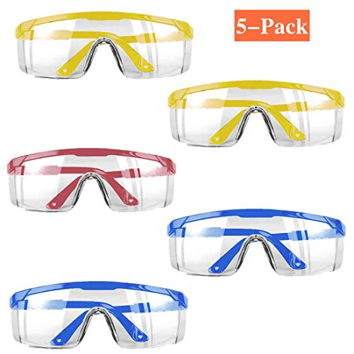 5Pack Goggles Safety Protective GogglesDustProof Breathable Laboratory Dustproof GlassessPerfect Eye Protection for MedicalLab ChemicalSplash Goggles