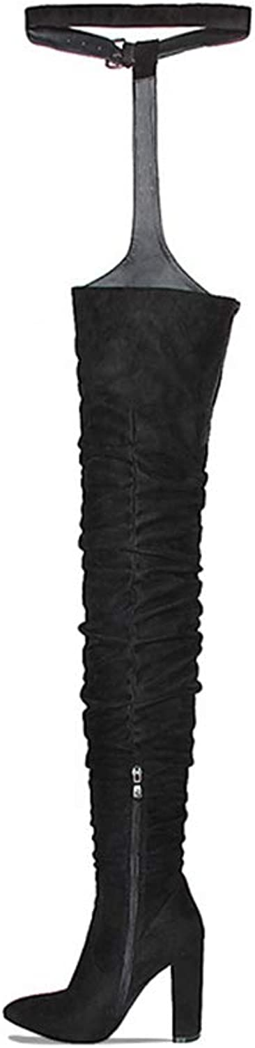 T-JULY Women's Fashion Winter Over Knee Long Boots Heels Faux Suede Quality Comfort Block Heels Slim Tight High Boot