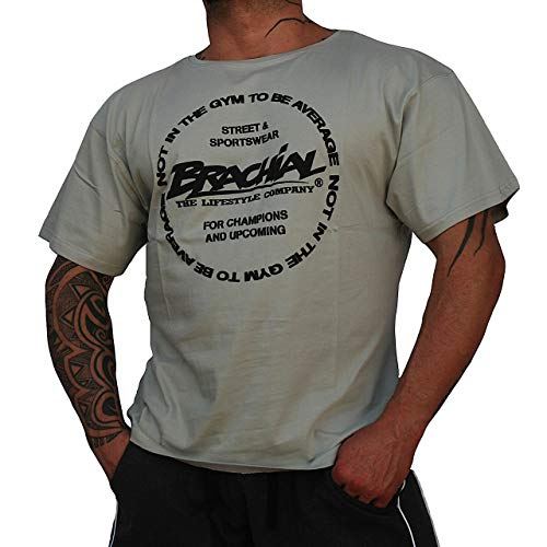 Brachial T-Shirt Style grau M - Für Bodybuilding, Kraftsport und Fitness