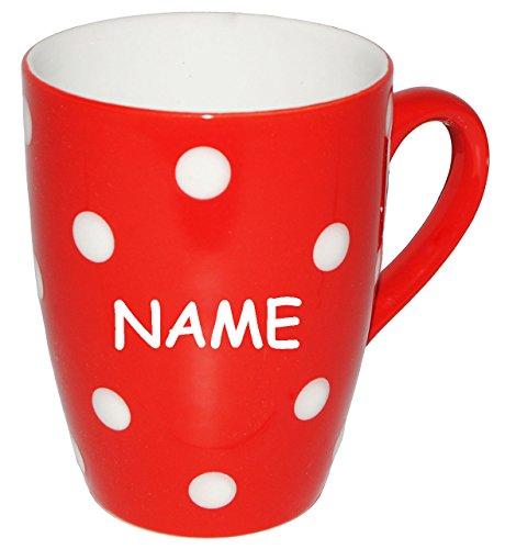 alles-meine.de GmbH 1 Stück _ Henkeltasse / Kaffeetasse -  Punkte - ROT & weiß  - incl. Name - groß - 300 ml - Porzellan / Keramik - Teetasse - Trinktasse mit Henkel - Mikrowel..