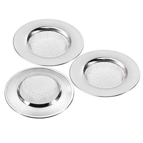 3 Stück Küche Edelstahl Abflusssieb Set - Haarsieb Dusche für Bad, Ø 7,7cm (Silber)