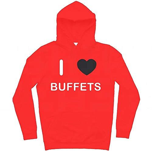 I Love Buffets - Rosso Extra Large Felpa Con Cappuccio