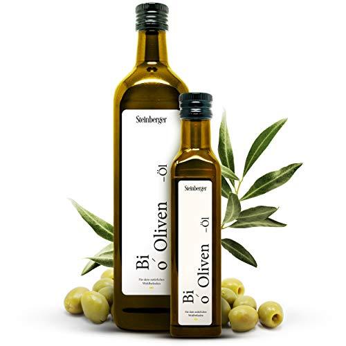 Premium BIO Natives Olivenöl von Steinberger | 100{9598f93d6da1eaf8f044bdd70214176e69ac25ec104e50bbfdc6b7bb4257cdf3} rein & kaltgepresst aus der Koroneiki-Olive | intensiv-lecker | 750 ml Glasflasche