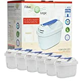 FilterLogic FL402E | Paquete de 6 - Cartucho filtrante compatible con Brita Maxtra+ Plus filtro agua para Jarra de agua Brita fill&enjoy Marella Style Flow Elemaris Fun - BWT Penguin - Tassimo