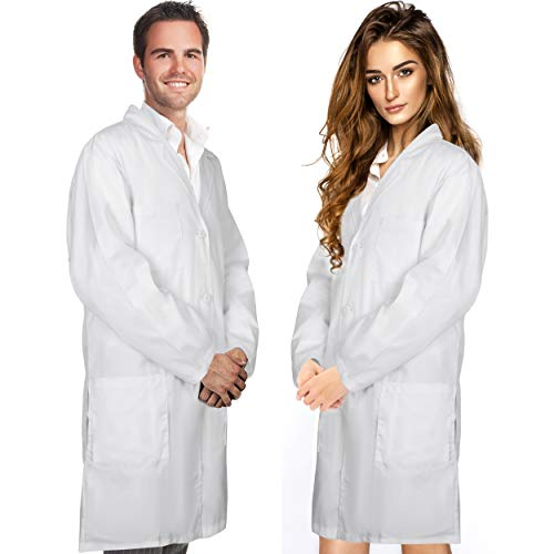 Professional Men & Women Lab Coat Cotton Material 41 Inch Long (White) Unisex Doctor Costume Medical Chemistry Scientist Button Laboratory Male Jacket Lightweight Labcoat Doctors Scrubs Coats (Small)